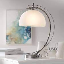 Calvin Modern Desk Table Lamp with USB Charging Port Brushed Nickel Curved  Frosted Glass Dome Shade for Living Room Bedroom House Bedside Nightstand  Home Office Reading Family - Possini Euro Design - -