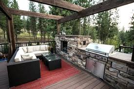 pictures of outside fireplaces with grill incorporated