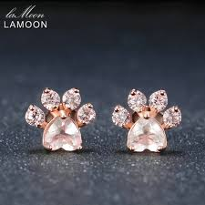 image lamoon bearfoot 5x5 5mm 100 natural gemstone rose quartz 925 sterling silver jewelry