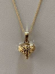 details about small solid 14k yellow gold las heart pendant diamond cut charm necklace