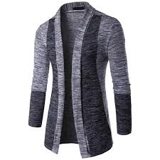 New Sweater Design For Man New Arrival Men Patchwork Sweater Fashion Pattern Design Long Sleeve Cardigan Robe Sweater Slim Casual Sweater