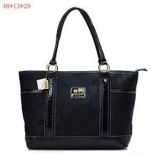 Coach Madison Signature Large Tote Bag Black