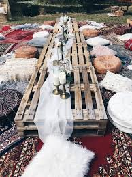 beautiful boho bridal shower ideas crate tables and pillow seats