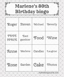 Free Printable Bingo Cards In 2019 80th Birthday Party
