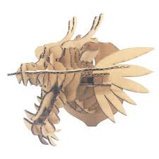 yahao assembled diy cardboard art dragon head wall mount wall hanging decoration large