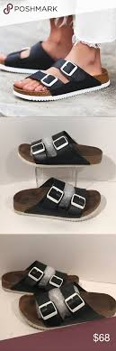 Blk Size Chart Birkenstock Blk White Super Grip Sandals 7 7 5 38 Great Used