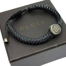 brandvalue gucci gucci bracelet crest tag wave silver x black leather x925 recommended lady s men t10596 rakuten global market