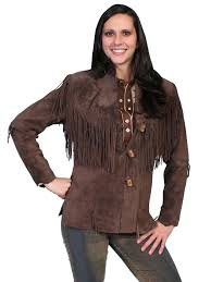 a scully las leather suede jacket western flirty fringe chocolate