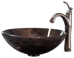 illusion glass vessel sink and riviera faucet set copper oil rubbed bronze