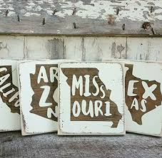 amazon com mini rustic wood signs whitewash state signs home