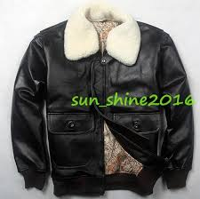details about mens 100 real leather fashion er flight fur collar coats motorcycle jacket