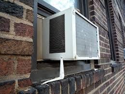 AC window unit on shelf brackets - a photo Flickriver