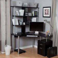 image corner computer. Furniture : Modern Black L Shape Small Corner Computer Desk Decor Combine Book Shelves And Grey Painted Wall Also Textured Wood Floor Smart Savvy Solution Image Y