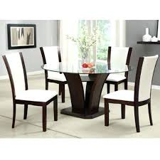 glass top round dining table set room a dark cherry finish round glass top dining table