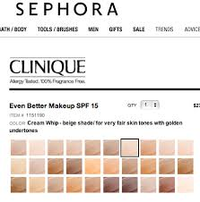Clinique Superbalanced Shade Chart Clinique Foundations For Yellow Based Skin Tones Clinique