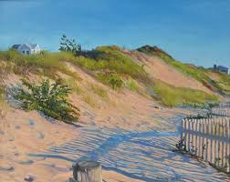 hilary baldwin a traditional beach painting of realistic sand dunes with grasses and shadows