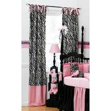 Zebra bedding and curtains black white pink