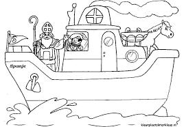 Kleurplaten Sinterklaas Zwarte Piet Stoomboot
