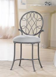 bathroom vanity table and chair. bathroom furniture gray polished wrought iron vanity chair with rounded white tone padded seat and ornate table