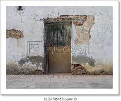 free art print of beautiful old wooden door with old wall texture