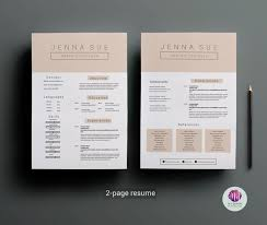 Modern Resume Color 2 Page Cv Template Cover Letter Template Pastel Color Theme Professional Cv Modern Resume