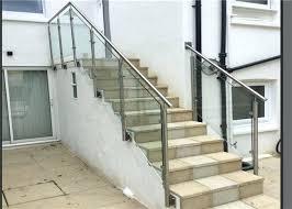 glass stair railings side mount glass barade stainless steel handrails steel and glass stair railing glass glass stair railings
