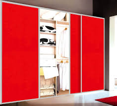 nice and sleek laminated red sliding bypass closet door design in the contempo bedroom decoration with gray color scheme ideas