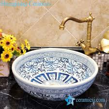zy 0051 unique hand painting blue and white porcelain bathroom corner sink