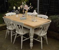 Shabby Chic Country Farmhouse Pine Table And 6 Chairs Round