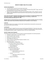 Report Guide Format And Style Requirements O The Project Group Must ...