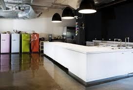 Office Workspace: Modern Spacious Office Kitchen Design Ideas With White  Sleek Countertop Kitchen Island And