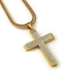 whole fashion gold men necklace cross pendant long chain for women men statement necklace pendant hip hop bling jewelry for gift pendants for necklaces