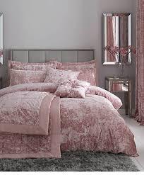 blush crushed velvet duvet cover in