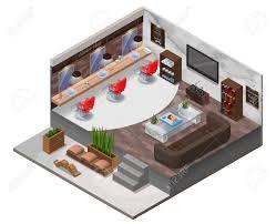 modern wooden furniture. Isometric Barber Shop Interior, Hipster Hair Salon Design With Modern Wooden Furniture, Marble Wall Furniture