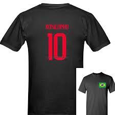 New Russia World Match Cup Brazil Ronaldinho Number 10 Sporty Jersey Summer  T Shirt Mens Fans Footballer Goal Tee Couple|T-Shirts