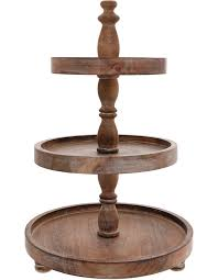 wooden 3 tier cake stand image 1