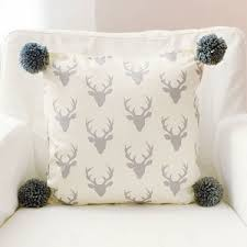 pom pom pillow. Unique Pillow Gray Deer Pillow With Pom Poms  Buck Forest In Silver Crib Collection And