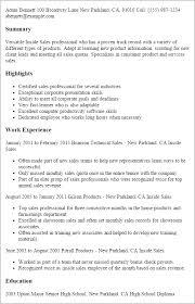 Inside Sales Resume samples VisualCV resume samples database Free Sample  Resume Cover