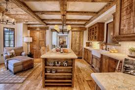 Kitchen : Kitchen Furniture Solid Wood Countertop On Rustic Wooden Kitchen  Cabinet And Brown Chaise Lounge Chair On Harwood Floor With Kitchen  Counters Plus ...