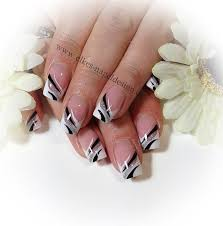 Elegant French Manicure Designs Elegant French Nail Art In Silver Black And White
