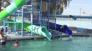 Swimming pool and water slide fun - YouTube