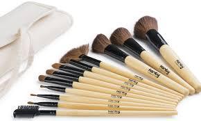12 piece bamboo natural hair makeup brush set