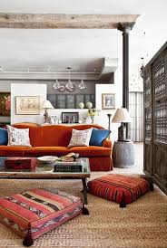Living Room Designes Mesmerizing Turkish Delight Kilim Floor Pillows Orange Rust Colored Sofa
