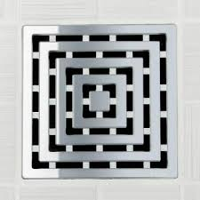 frames pattern square shower drain in polished chrome