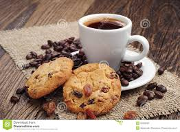Cookie Coffee Cups Cup Of Coffee And Cookies With Raisins Royalty Free Stock