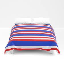 blue red and white lion stripes duvet cover