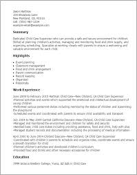 Child Care Resume Template Awesome Child Supervisor Yelommyphonecompanyco