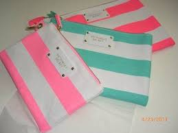 victoria s secret striped canvas set of 3 cosmetic makeup bags ebay