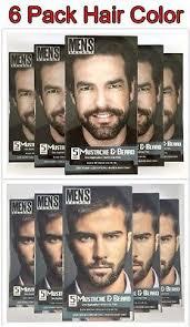 6pck men s select mustache and beard hair color dye black dark brown 5 minute