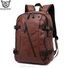 baijiawei men pu patent leather backpacks men s fashion backpack travel bags western college style bags mochila feminina